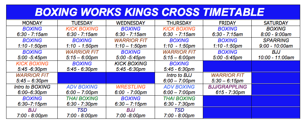 Current Timetable